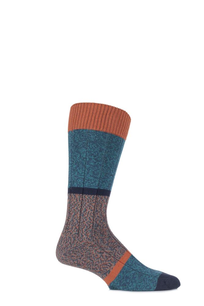 Mens 1 Pair Scott Nichol Urban Collection The Boultham Cotton Block Marl Socks