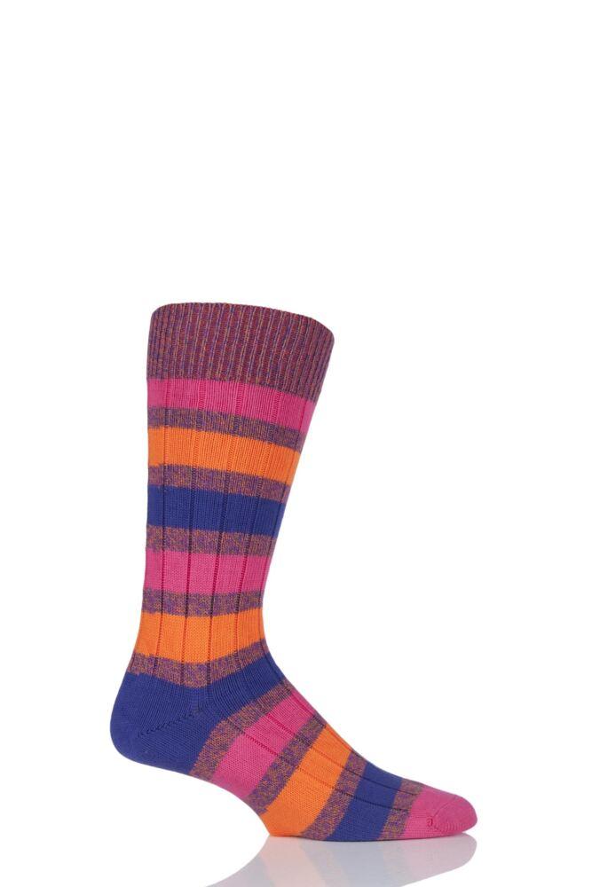 Mens 1 Pair Scott Nichol Appleton Ribbed Striped Cotton Socks 25% OFF