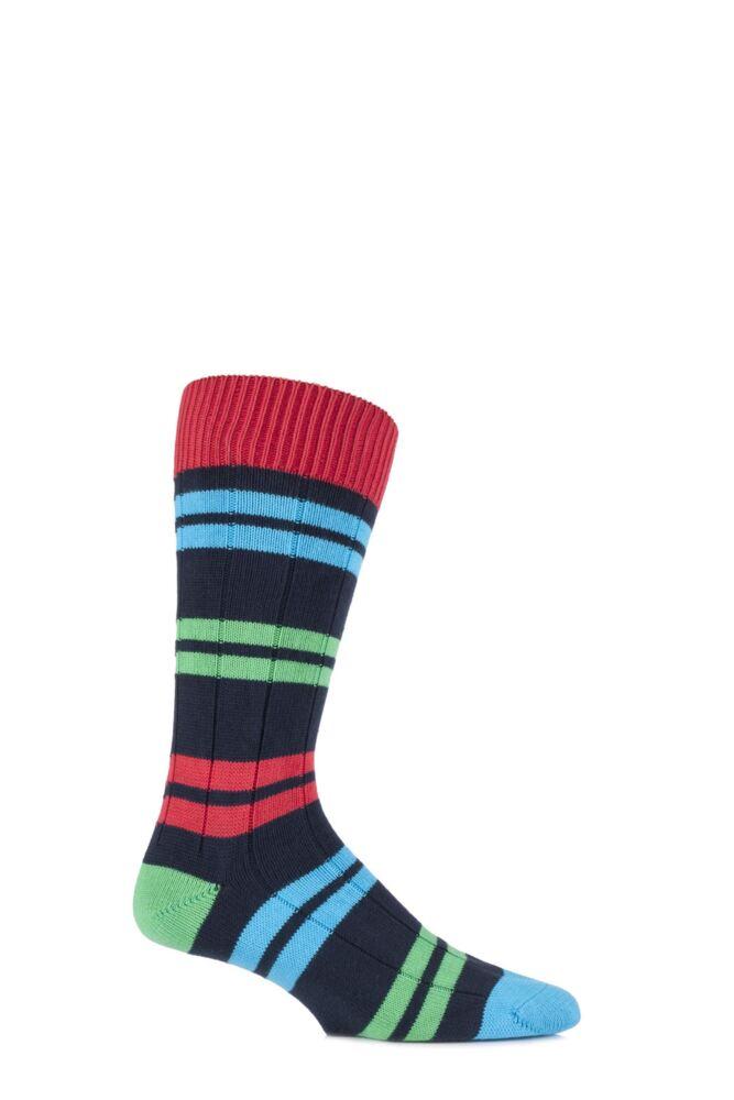 Mens 1 Pair Scott Nichol Team Collection Aylestonian Cotton Double Striped Socks 33% OFF