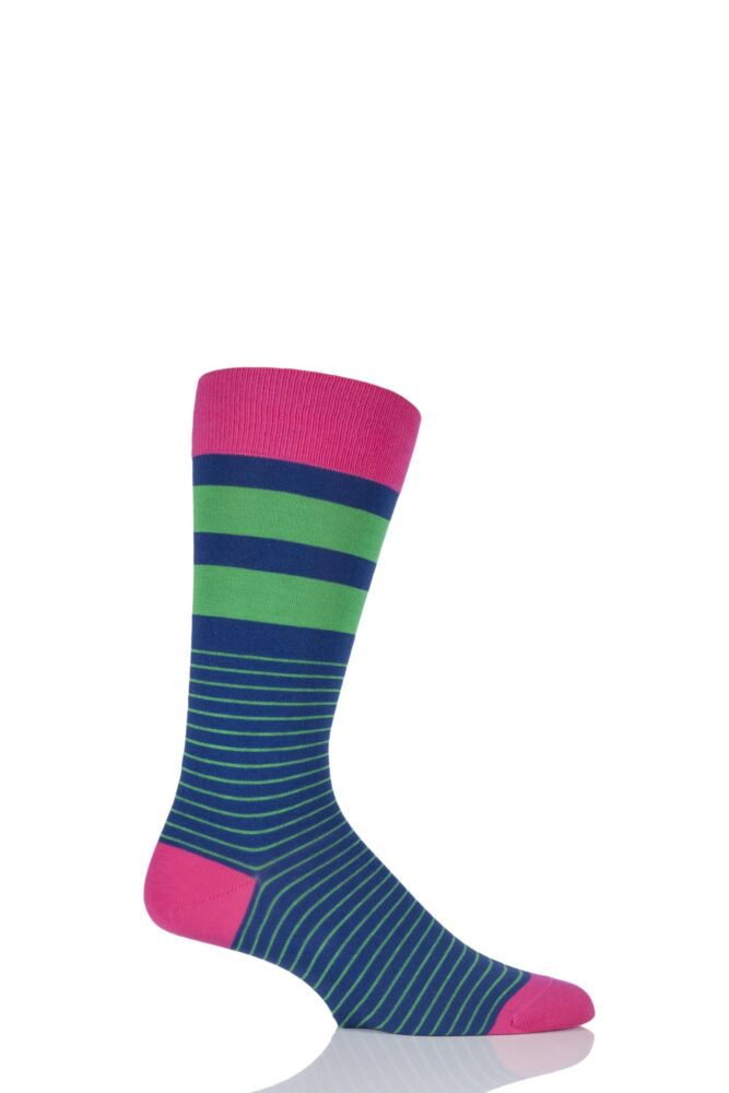 Mens 1 Pair Scott Nichol Spinnaker Nautical Striped Socks with Contrast Heel, Toe and Top