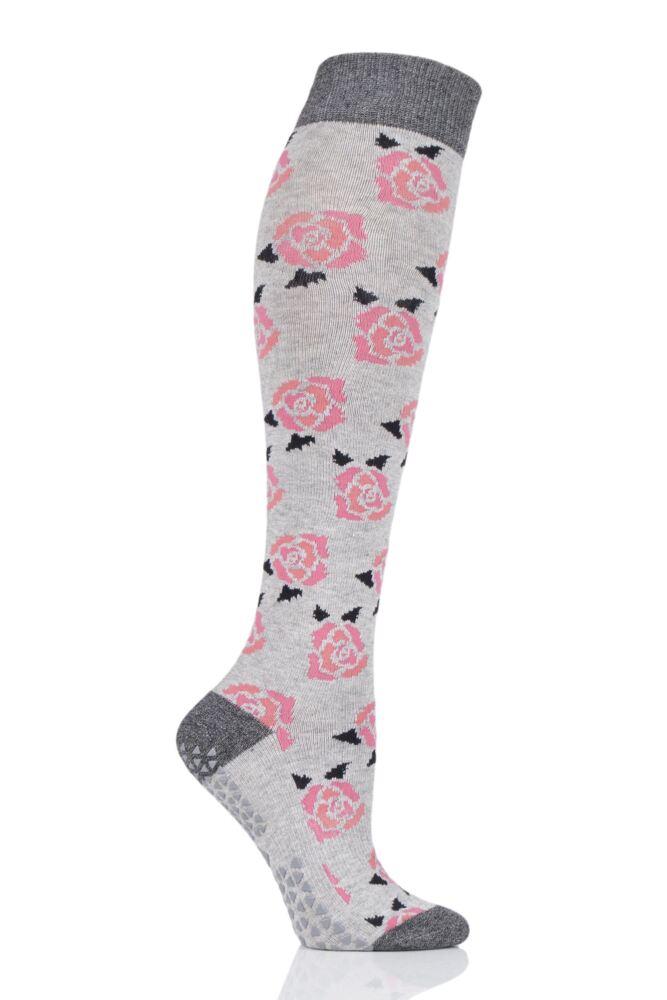Ladies 1 Pair Tavi Noir Full Toe Organic Cotton Jane Roses Knee High Socks