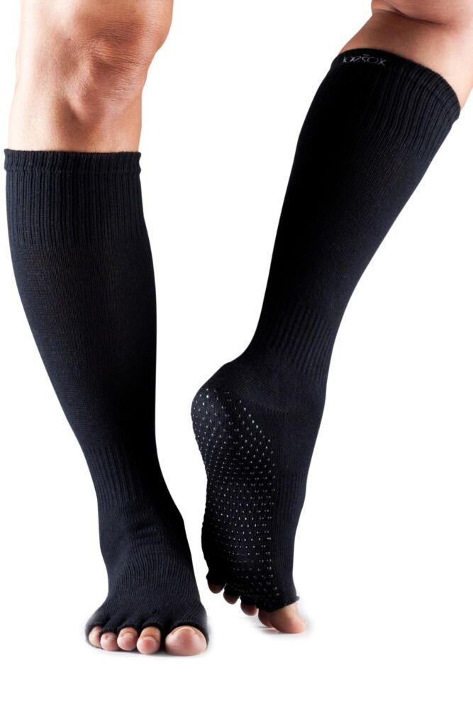 Ladies 1 Pair ToeSox Scrunch Half Toe Organic Cotton Knee High Socks