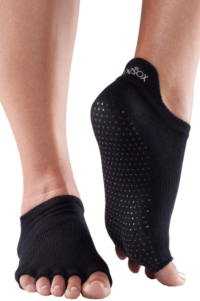 Mens and Ladies 1 Pair ToeSox Half Toe Organic Cotton Low Rise Yoga Socks In Black