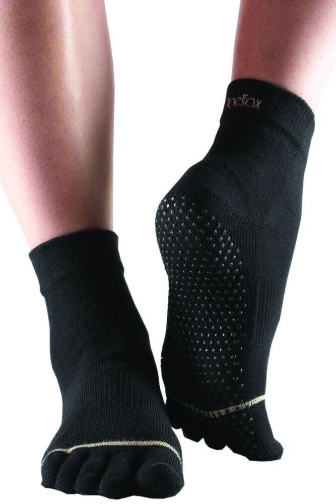 Mens and Ladies 1 Pair ToeSox Full Toe Organic Cotton Ankle Yoga Socks In Black