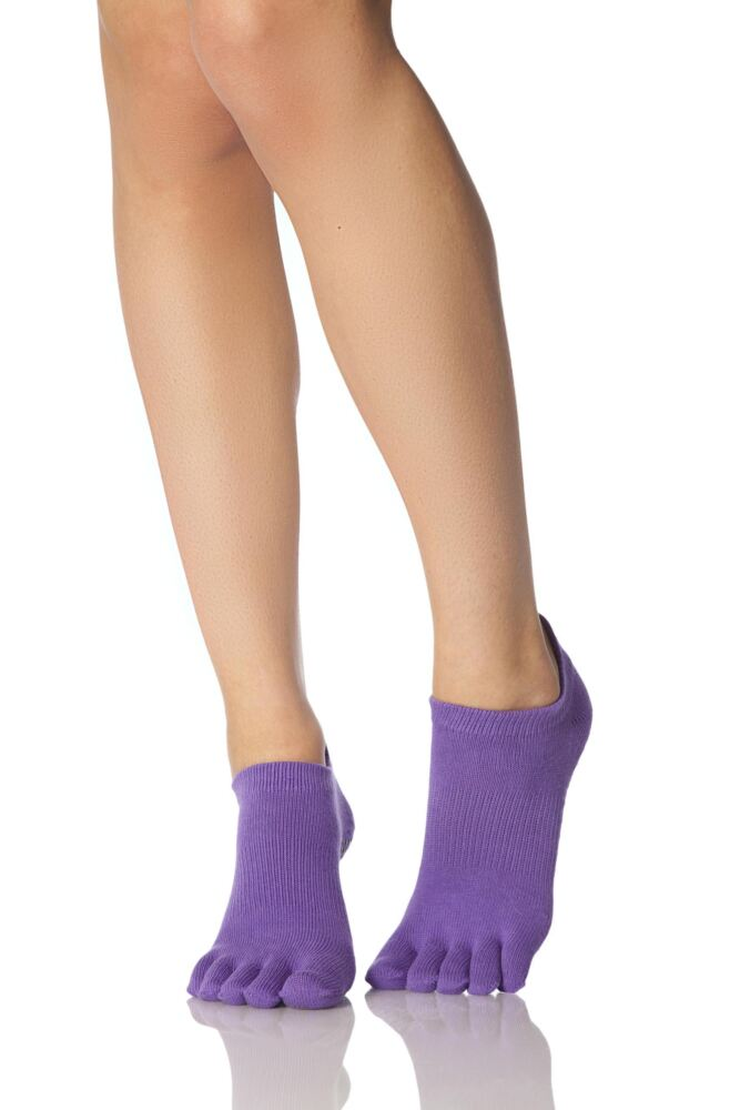 Mens and Ladies 1 Pair ToeSox Full Toe Organic Cotton Ankle Yoga Socks In Light Purple
