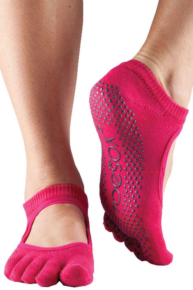 Ladies 1 Pair ToeSox Bella Full Toe Organic Cotton Open Front Yoga Socks In Fuchsia