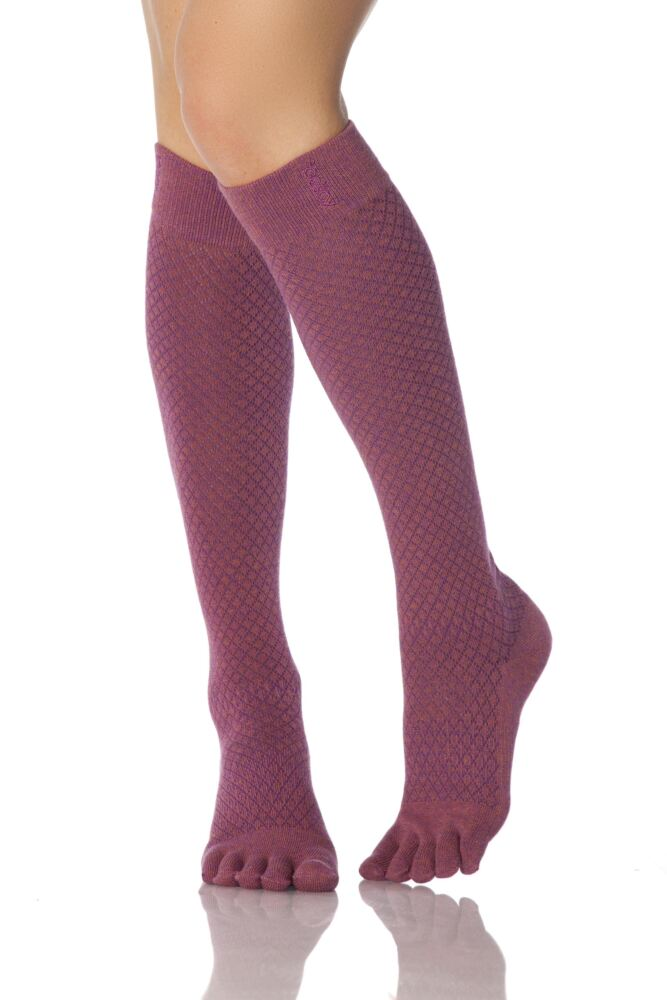 Ladies 1 Pair ToeSox Casual Organic Cotton Fishnet Full Toe Knee High Socks
