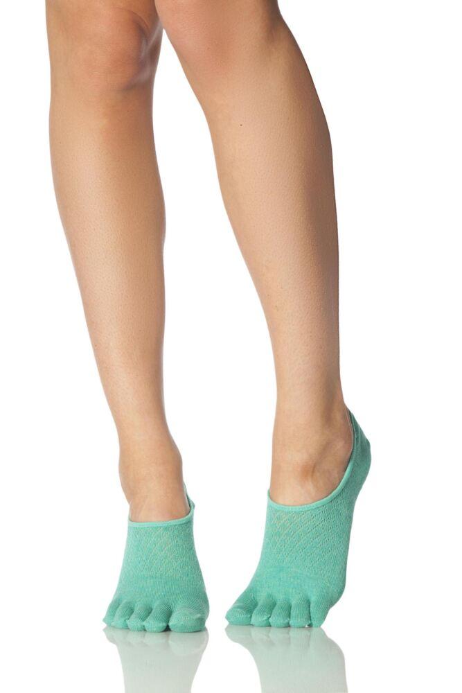 Ladies 1 Pair ToeSox Full Toe Dash Low Rise Fishnet Socks