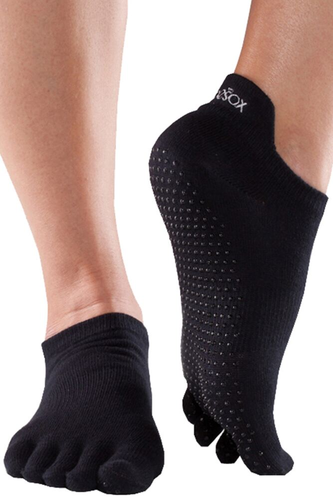 Mens and Ladies 1 Pair ToeSox Full Toe Organic Cotton Low Rise Yoga Socks In Black