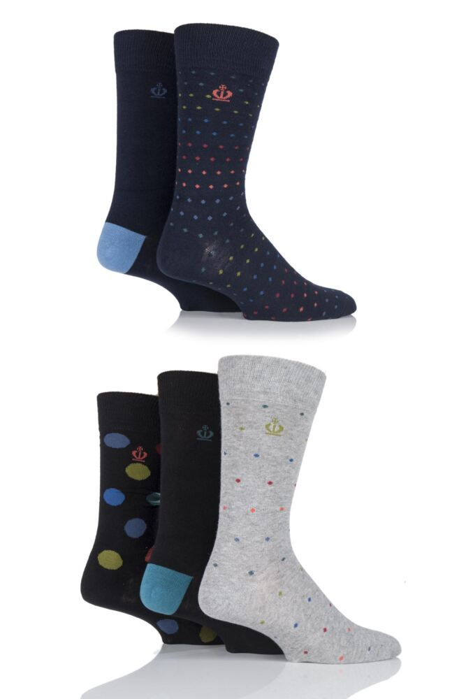 Mens 5 Pair Jeff Banks Gift Boxed Banbury Spotty and Plain Cotton Socks