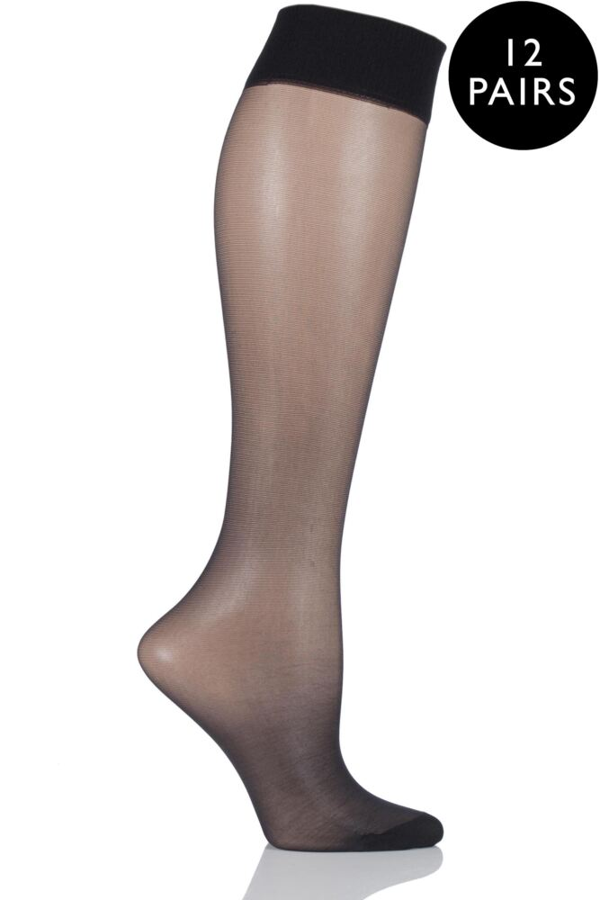 Ladies 12 Pair SockShop 15 Denier Sheer Matt Knee Highs