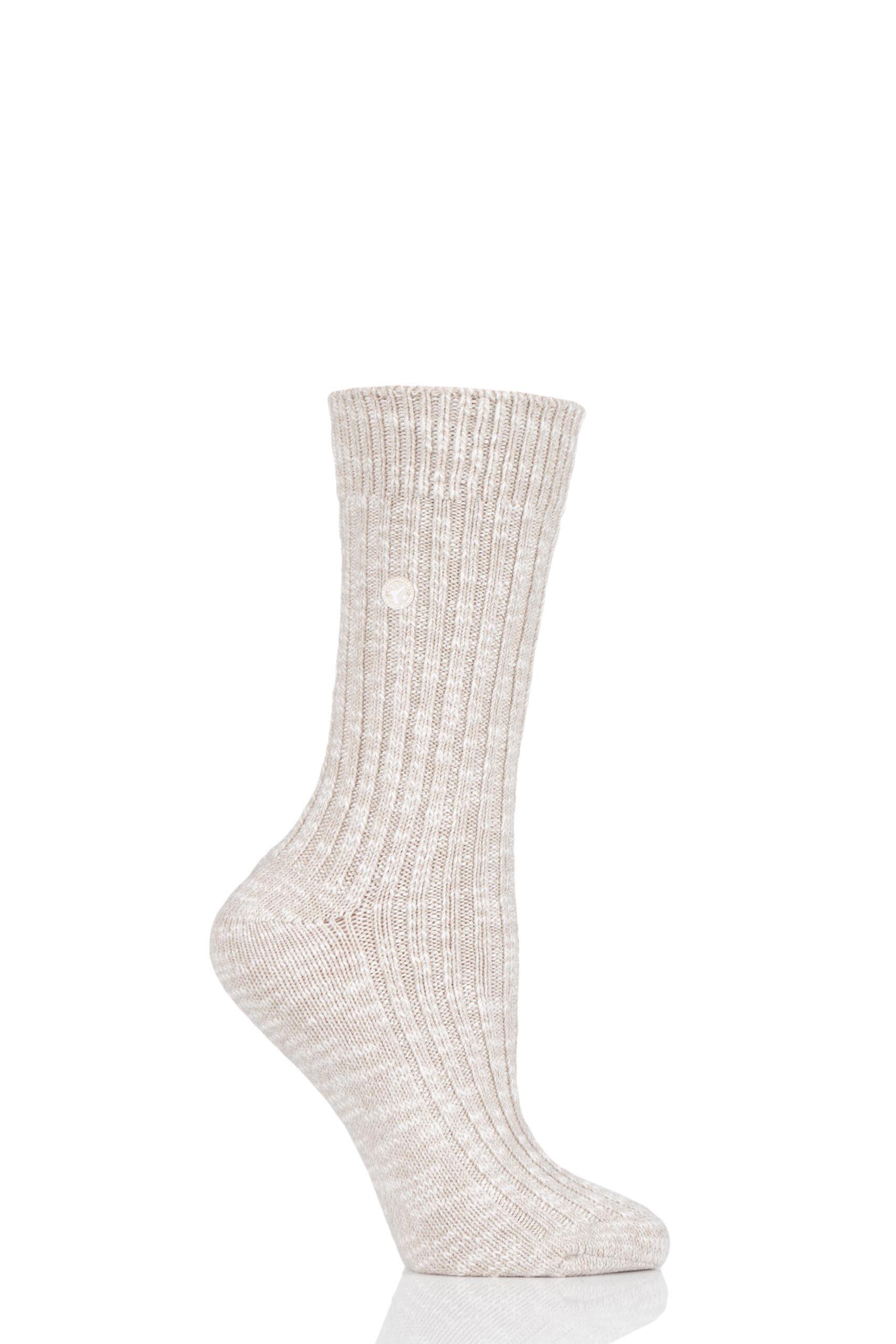 Image of 1 Pair Beige Cotton Slub Chunky Ribbed Socks Ladies 3.5-5 Ladies - Birkenstock