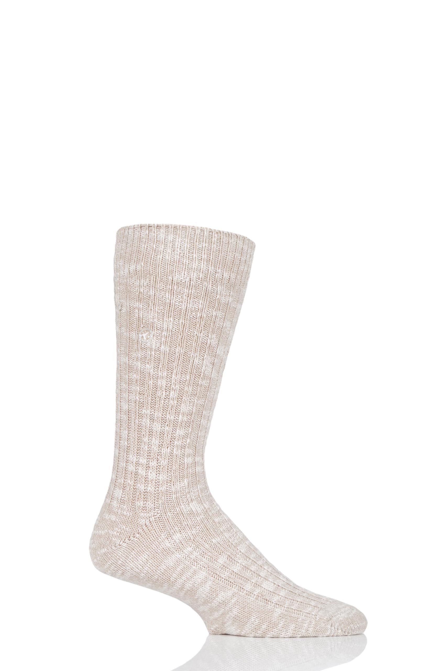 Image of 1 Pair Beige Cotton Slub Thick Ribbed Socks Men's 5.5-7.5 Mens - Birkenstock