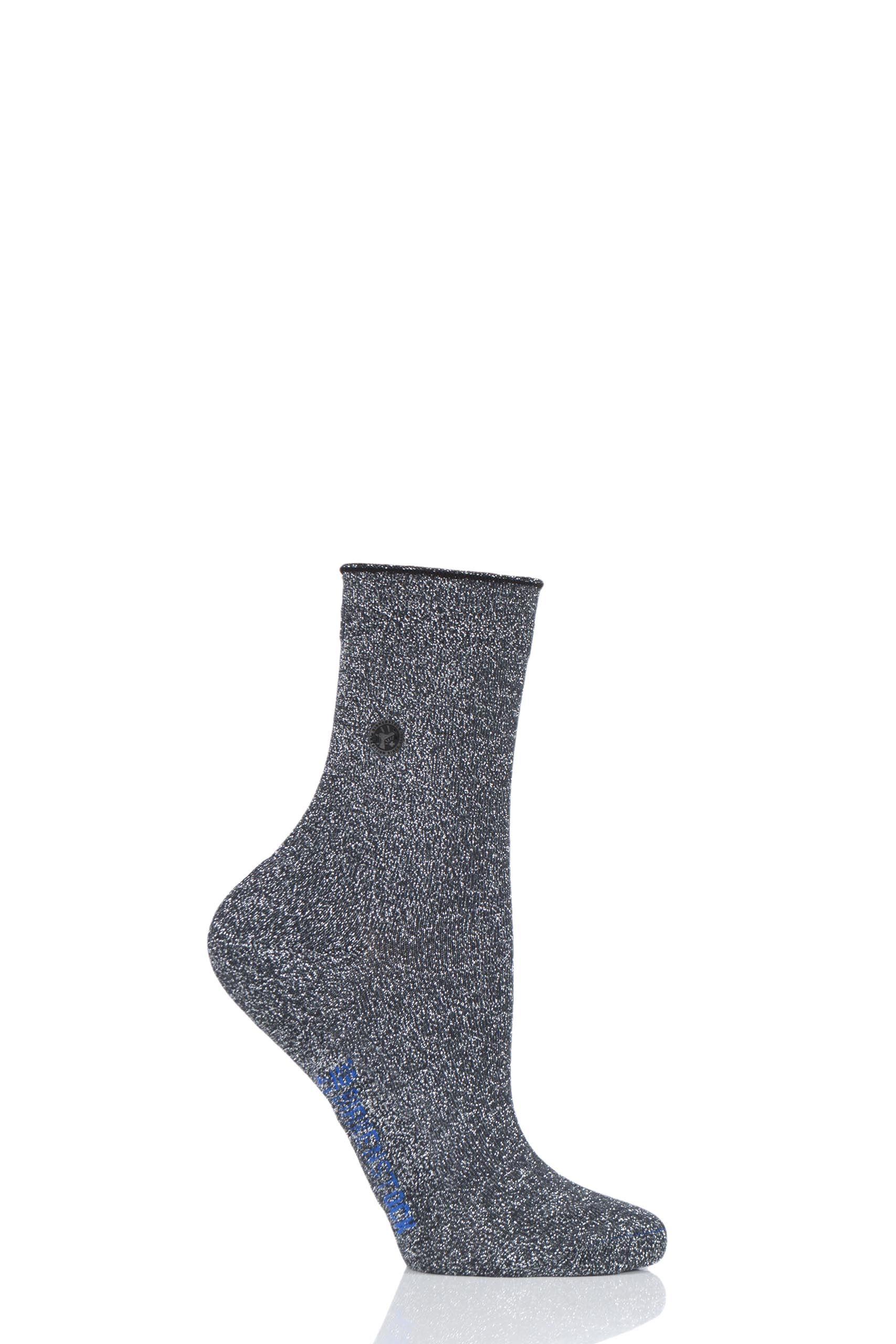 Image of 1 Pair Anthracite Cotton Sole Bling Socks Ladies 3.5-5 Ladies - Birkenstock
