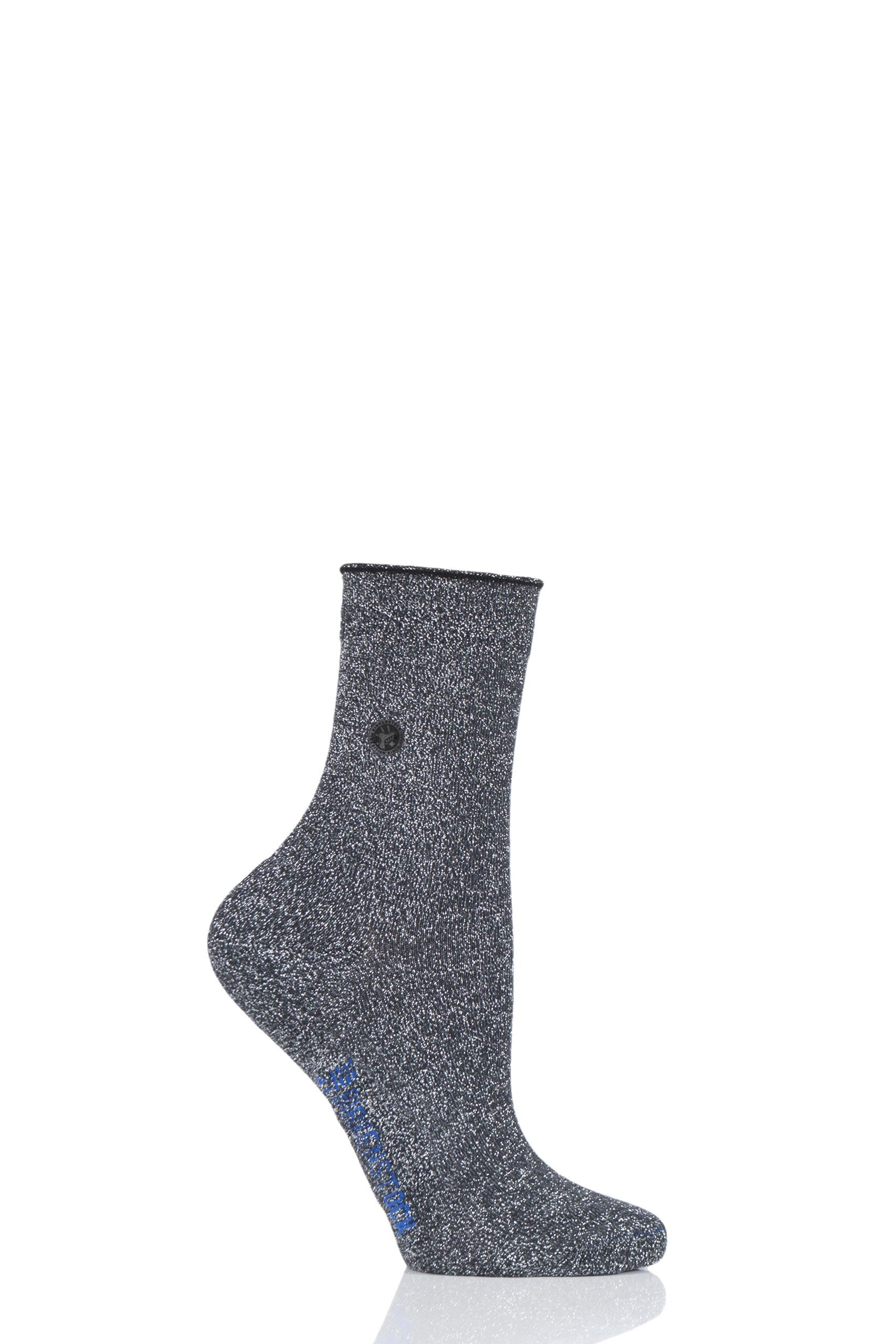 Image of 1 Pair Anthracite Cotton Sole Bling Socks Ladies 5.5-7.5 Ladies - Birkenstock