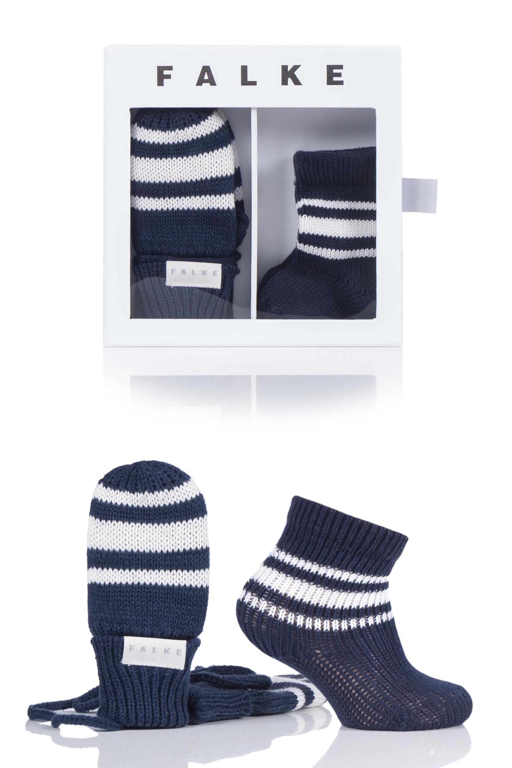 Image of 1 Pack Marine Babies Socks and Mittens Gift Box Kids Unisex 1-6 Months - Falke
