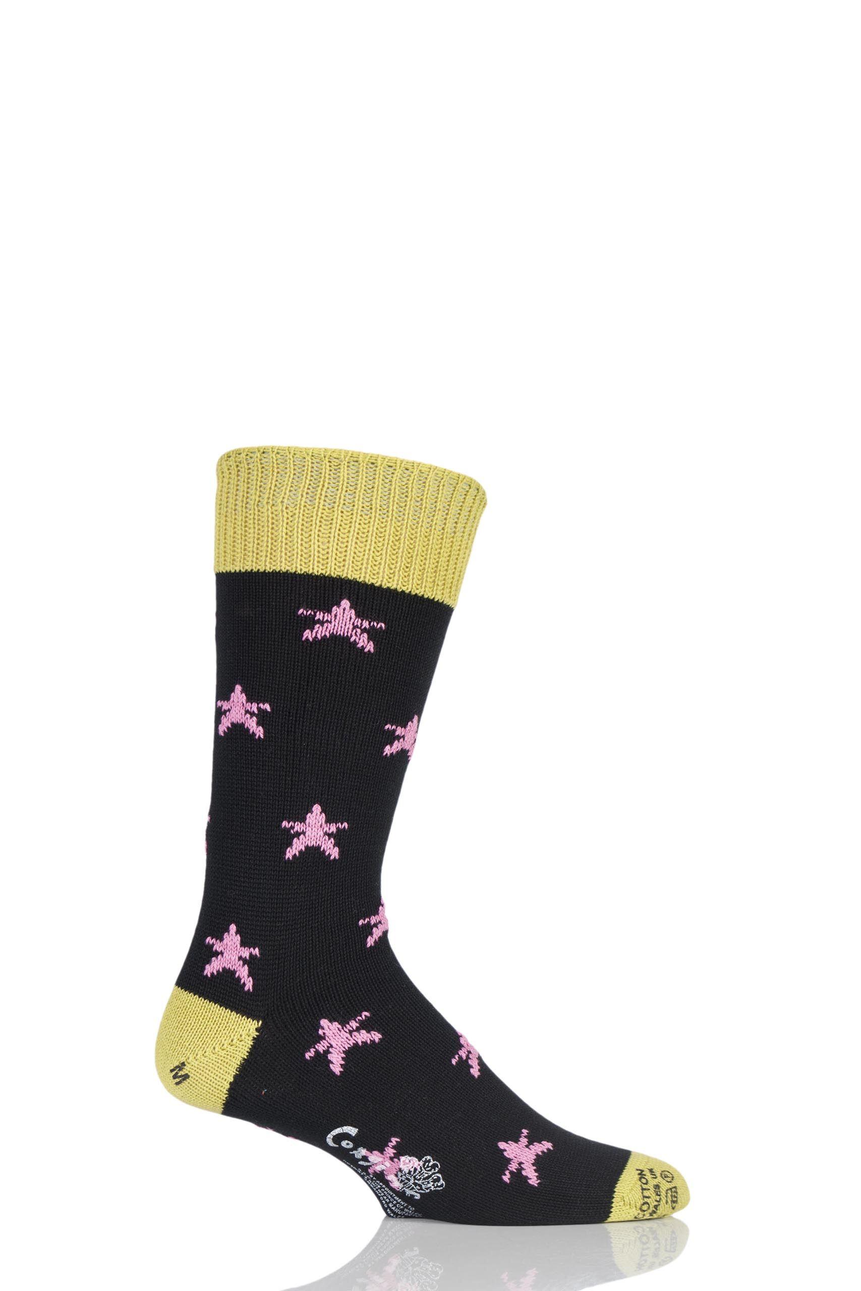 Image of 1 Pair Black 100% Cotton Stars Socks Men's 7-9 Mens - Corgi
