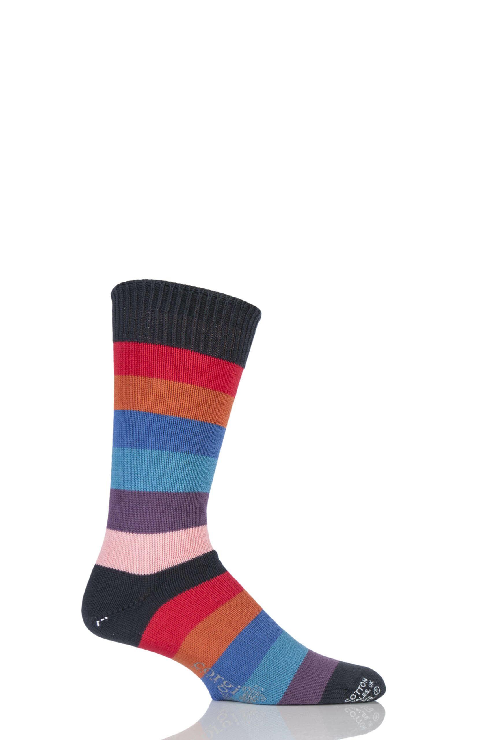 Image of 1 Pair Anthracite 100% Cotton Wide Striped Socks Men's 10-12 Mens - Corgi
