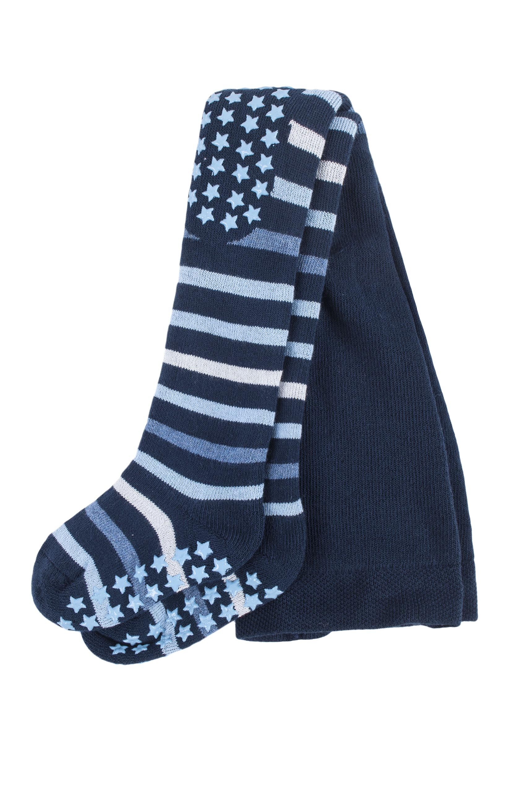 Image of 1 Pack Navy Multi Stripe Tights with Grips Kids Unisex 1-6 Months - Falke