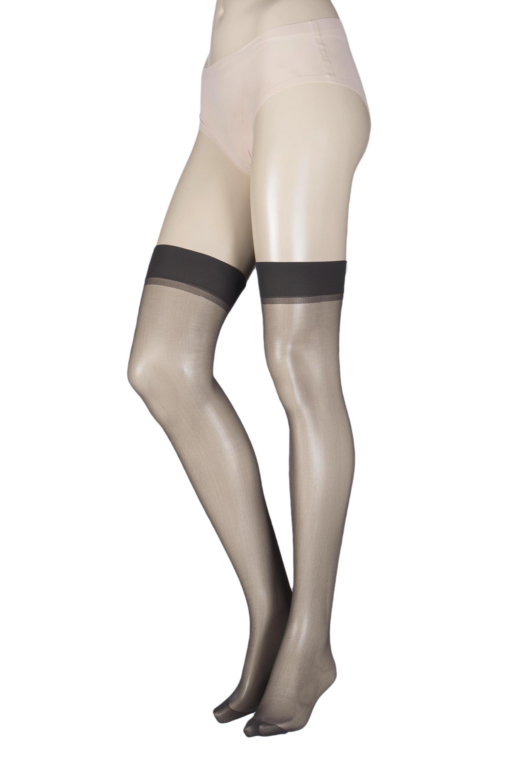 Image of 1 Pair Barely Black Stockings 15 Denier 100% Nylon Ladies One Size - Elle