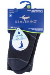 Mens and Ladies 1 Pair SealSkinz 100% Waterproof Mid Weight Mid Length Socks with Hydrostop Packaging Image