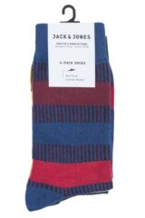 Mens 4 Pair Jack & Jones Mixed Striped Socks Packaging Image