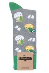 1 Pair Moustard Dinos Eggs Cotton Socks Packaging Image