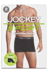 Mens 2 Pack Jockey Sport Microfiber Sports Boxer Shorts with Mesh Inserts Packaging Image