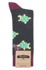 Mens and Ladies 1 Pair Moustard Sea Life Collection Sea Turtle Cotton Socks Packaging Image