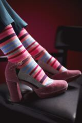 Ladies 1 Pair SockShop Striped Colour Burst Cotton Socks with Smooth Toe Seams Leading Image