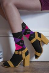 Ladies 3 Pair Pringle Louise Argyle Cotton Socks Leading Image