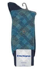 Mens 1 Pair Burlington Pixel Argyle Cotton Socks Product Shot
