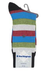 Mens 1 Pair Burlington Varied Stripe Cotton Socks Packaging Image