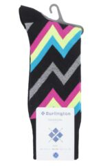 Mens 1 Pair Burlington Zig Zag Stripe Cotton Socks Packaging Image