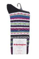 Ladies 1 Pair Burlington Fair Isle Virgin Wool Socks Product Shot