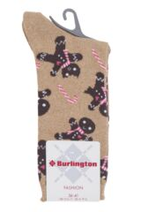 Ladies 1 Pair Burlington Gingerbread Man Cotton Sparkle Socks Packaging Image