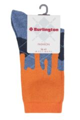 Ladies 1 Pair Burlington Argyle Drippy Cotton Socks Packaging Image
