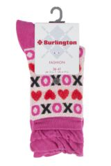 Ladies 1 Pair Burlington XOXO Heart Cotton Socks Packaging Image