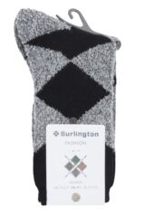 Ladies 1 Pair Burlington Fringes Fluffy Argyle Socks Packaging Image