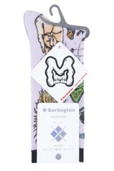 Ladies 1 Pair Burlington Horror Print Cotton Socks Packaging Image