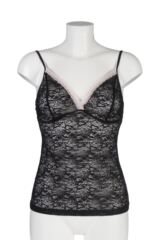 Ladies 1 Pair Kinky Knickers Nottingham Lace Strappy Cami Top In Black and Oyster