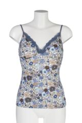 Ladies 1 Pack Kinky Knickers Liberty Print Cami Vest with Lace Trim In Bohemian Blues