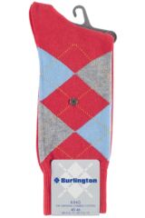 Mens 1 Pair Burlington King Argyle Cotton Socks Product Shot