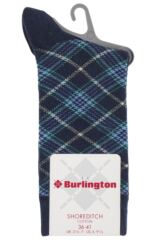 Ladies 1 Pair Burlington Shoreditch Cotton Tartan Socks Packaging Image