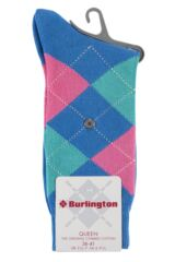 Ladies 1 Pair Burlington Queen Argyle Cotton Socks Packaging Image