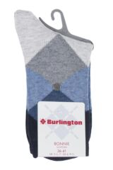 Ladies 1 Pair Burlington Bonnie Cotton All Over Blend Argyle Socks Packaging Image