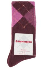 Ladies 1 Pair Burlington Whitby Extra Soft Argyle Knee High Socks Packaging Image