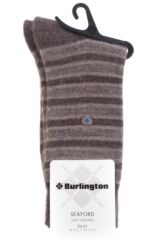 Ladies 1 Pair Burlington Seaford Extra Soft Mixed Stripe Socks Packaging Image