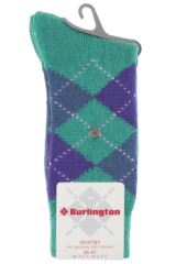 Ladies 1 Pair Burlington Whitby Extra Soft Argyle Socks Packaging Image