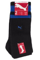 Mens and Ladies 2 Pair Puma Heritage Double Striped Crew Sports Socks Packaging Image